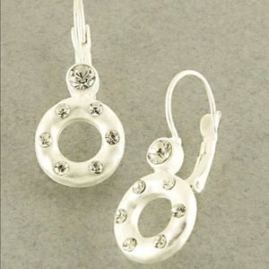 Open circle crystal earrings